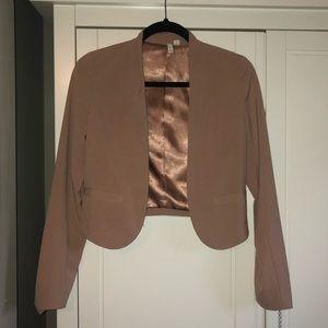 Nude cropped tailored blazer